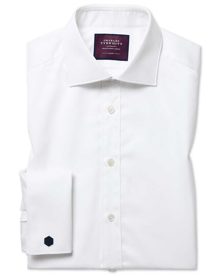 Slim fit white luxury twill shirt