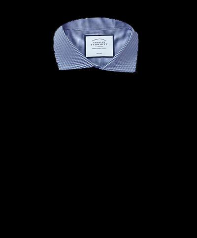 Slim fit non-iron spread collar royal blue puppytooth shirt