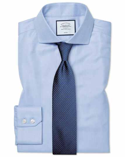 Slim fit non-iron spread collar sky blue herringbone shirt