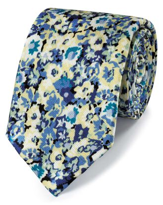 Yellow floral cotton silk printed classic tie