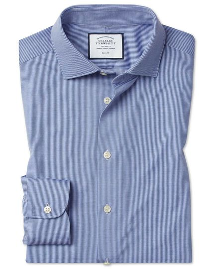 Slim fit business casual travel blue and white stripe shirt