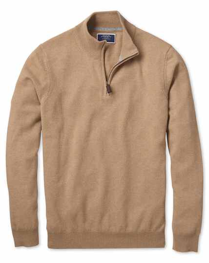 Tan zip neck cashmere sweater