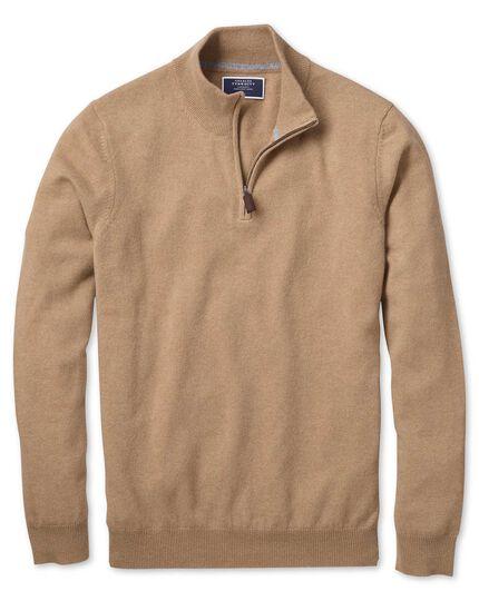 Tan zip neck pure cashmere jumper