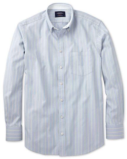 Slim fit sky blue stripe washed Oxford shirt