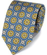 Blue circle medallion print silk English luxury tie