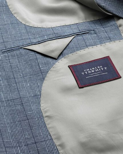 Classic fit mid blue Prince of Wales check cotton linen jacket