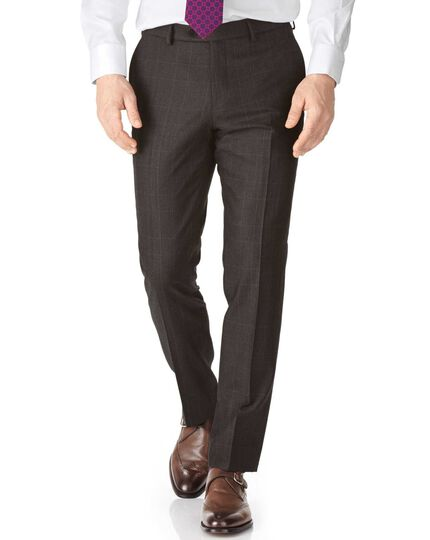 Dark grey slim fit saxony business suit trousers
