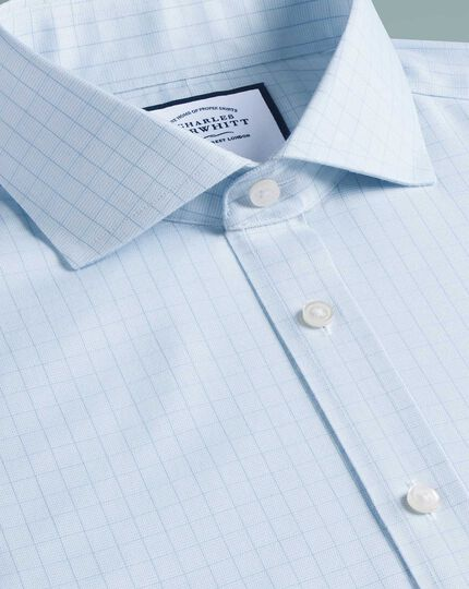 Slim fit cutaway collar non-iron soft twill blue check shirt