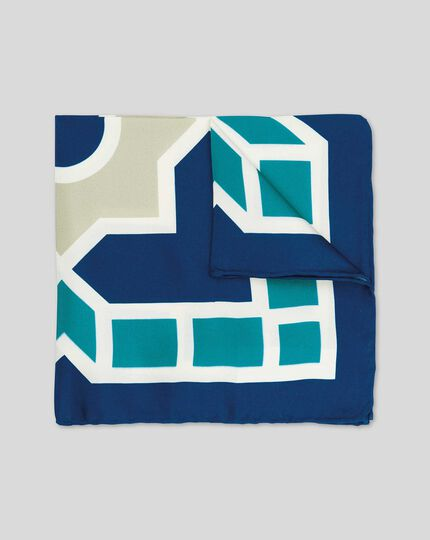 Einstecktuch mit großem Kachel-Print - Blau & Grün