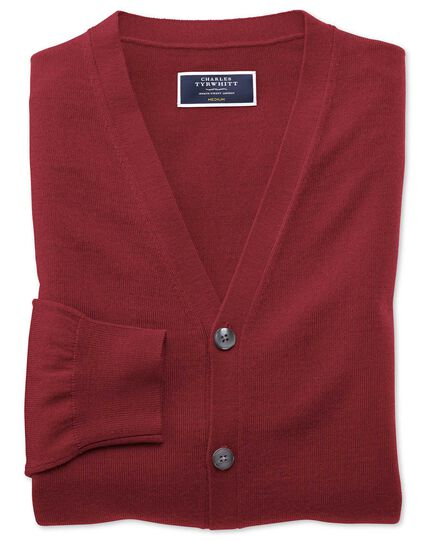 Dark red merino cardigan