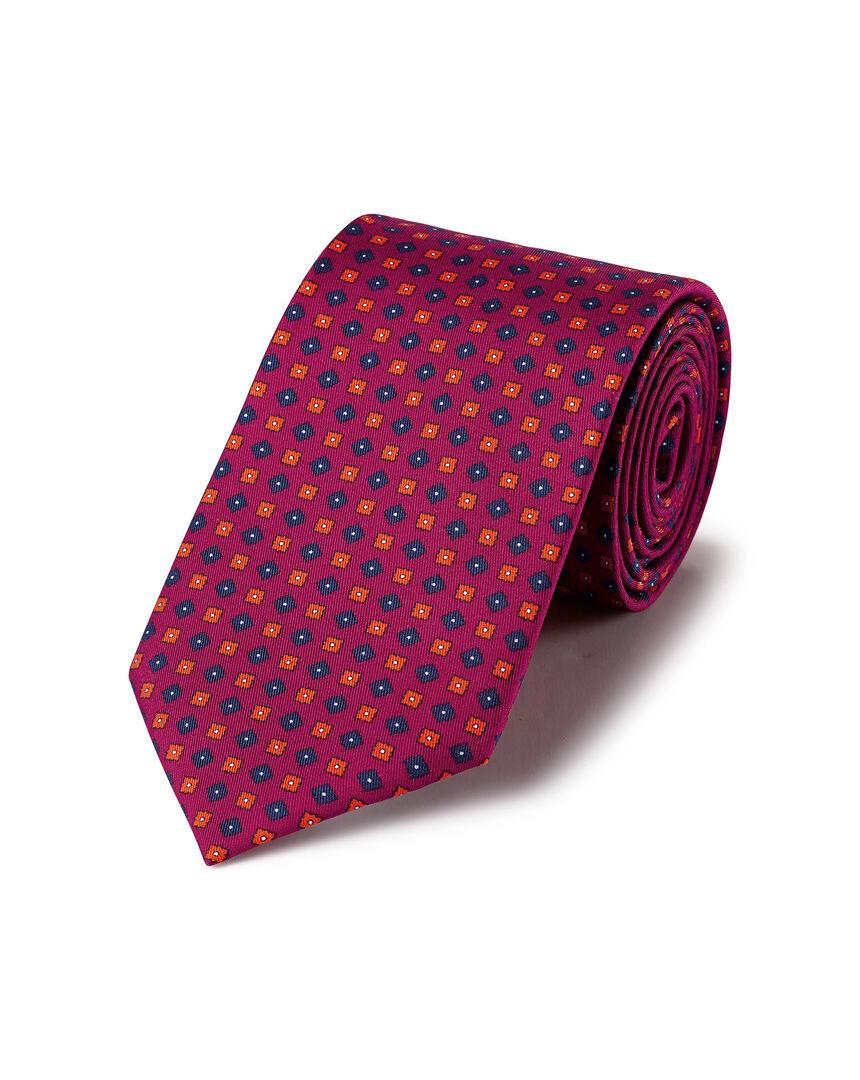 Krawatte aus Seide mit geometrischem Muster - Beerenrot