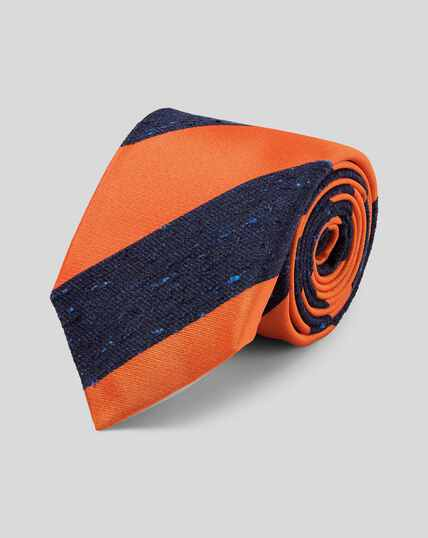 Silk Stripe English Heritage Luxury Tie - Orange & Navy