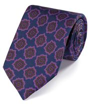 Cravate de luxe bleu marine et violette en soie anglaise à imprimé médaillon