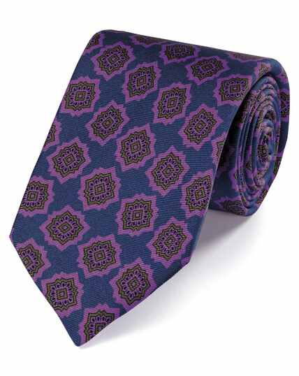 Navy and purple silk medallion print English luxury tie