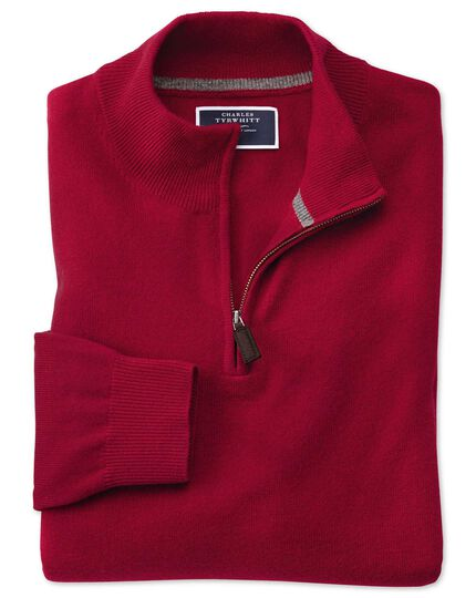 Red zip neck cashmere sweater