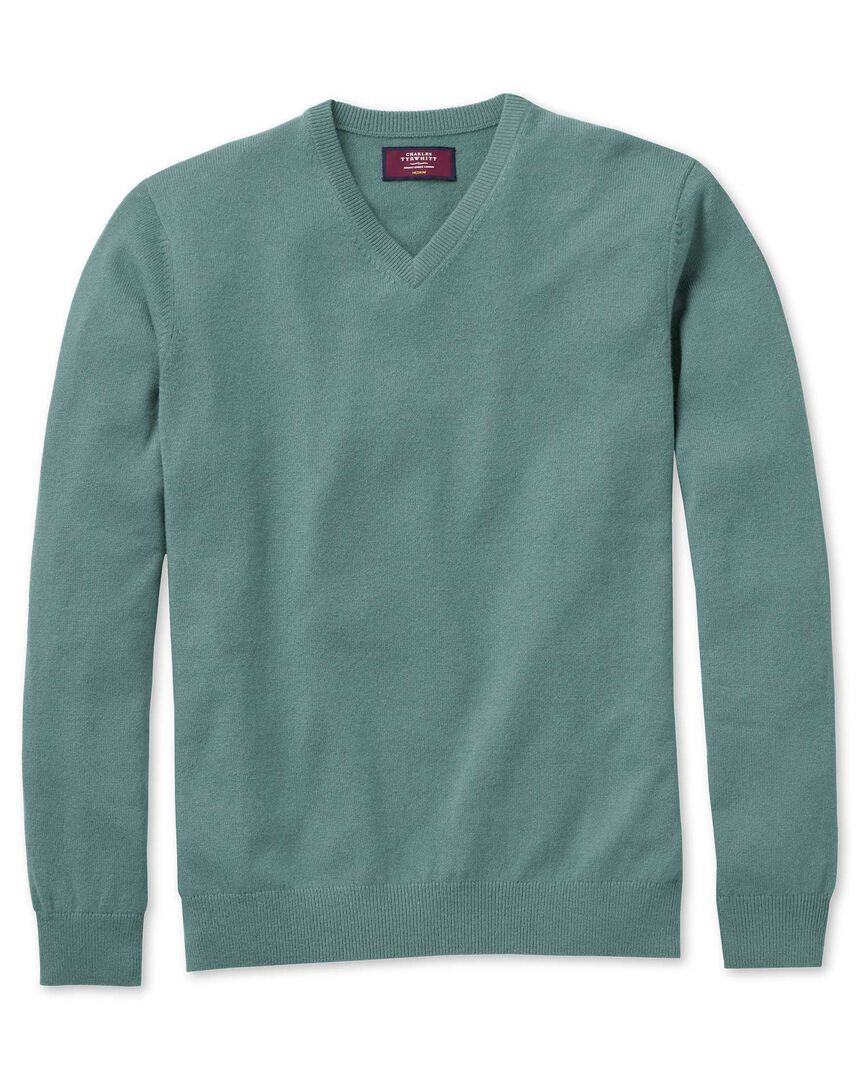 Light green cashmere v-neck sweater
