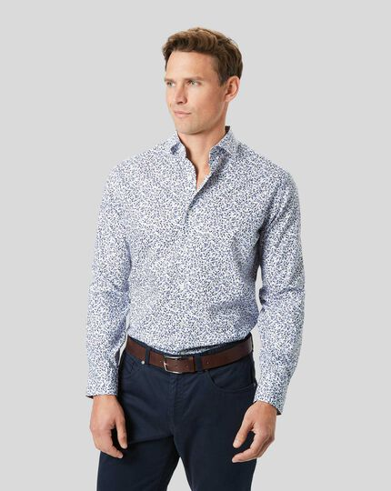 Stretch Poplin Floral Print Shirt - Blue