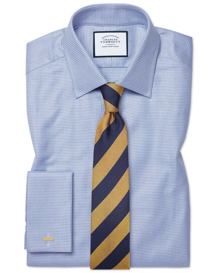Cravate classique or et bleue en soie texturée à rayures