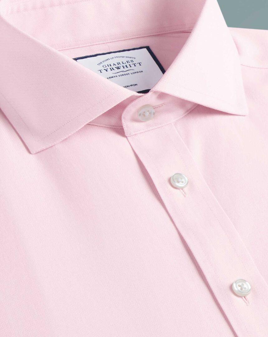 Slim fit cutaway  non-iron cotton stretch pink shirt