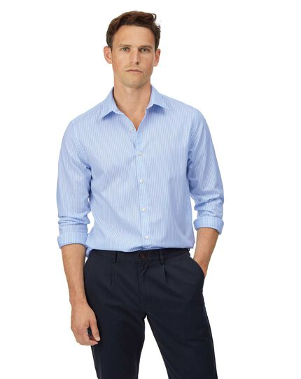 Extra slim fit soft washed textured sky blue and white stripe shirt