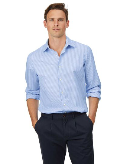 Slim fit soft washed textured sky blue and white stripe shirt