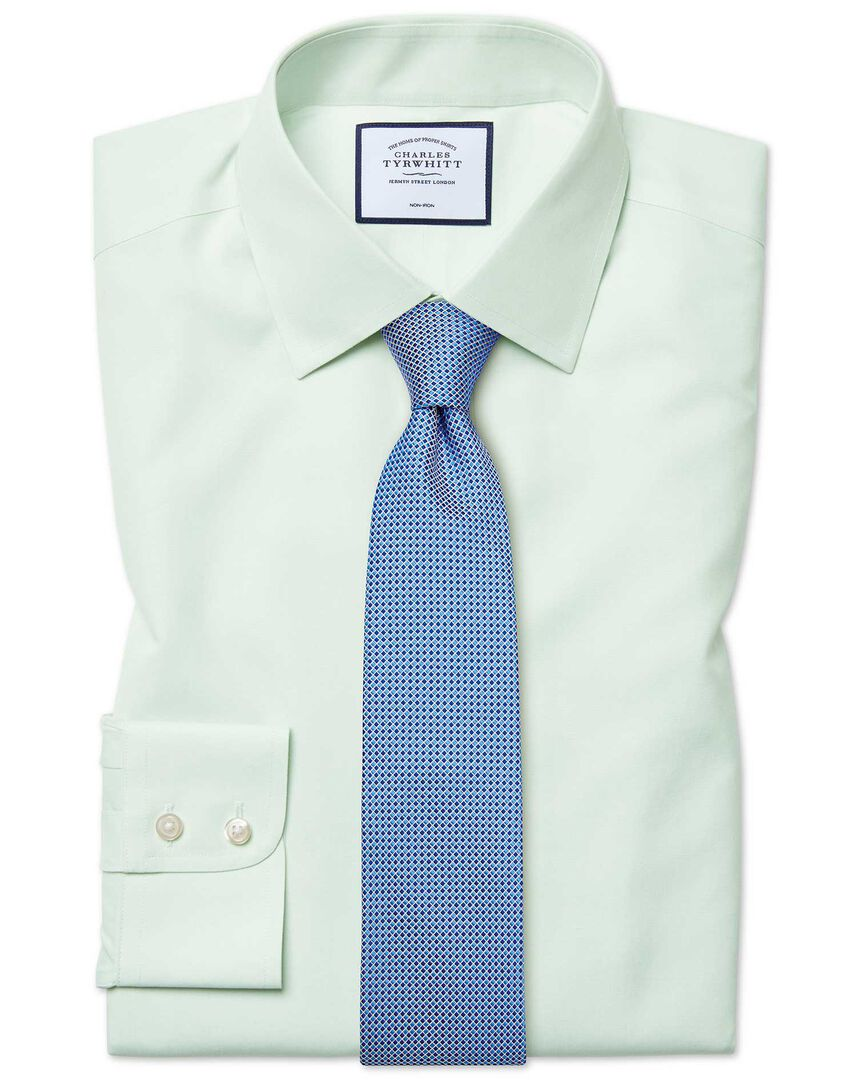 Classic fit non-iron poplin green shirt