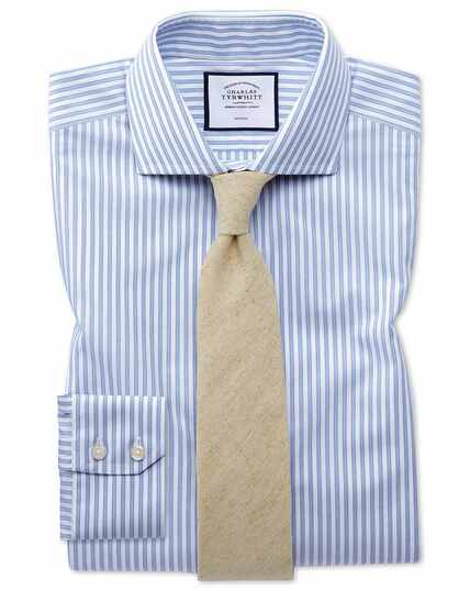 Slim fit non-iron shadow stripe sky blue shirt