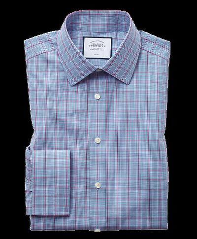 Bügelfreies Classic Fit Hemd mit Prince of Wales Karos in Blau & Violett