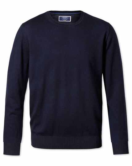 Navy merino wool crew neck jumper