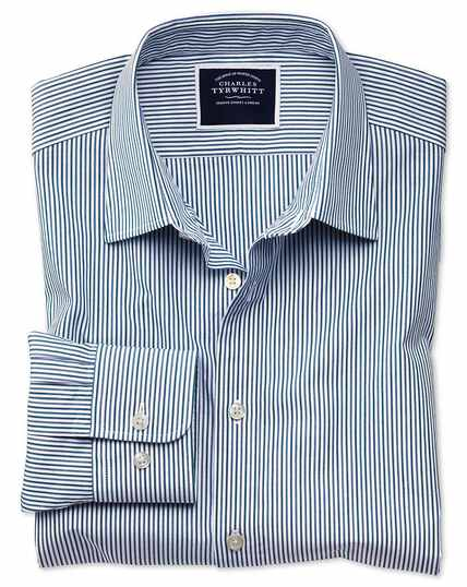 Classic fit blue and green stripe soft washed shirt