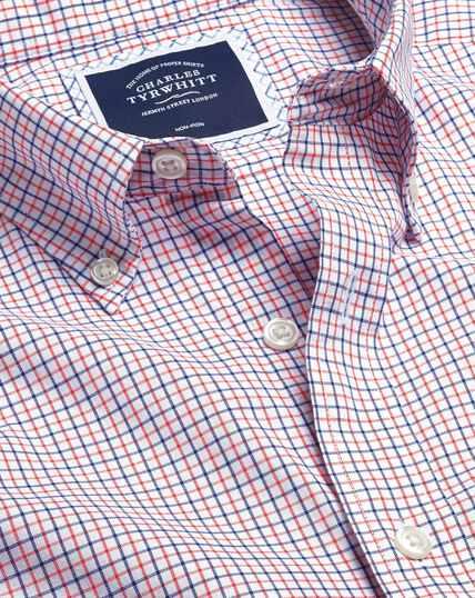 Bügelfreies Oxfordhemd aus Stretchgewebe mit Button-down-Kragen und Karos - Orange & Blau