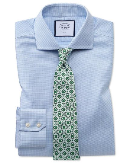 Slim fit non-iron cotton stretch Oxford sky blue shirt