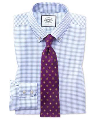 Extra slim fit button-down non-iron sky blue windowpane check shirt