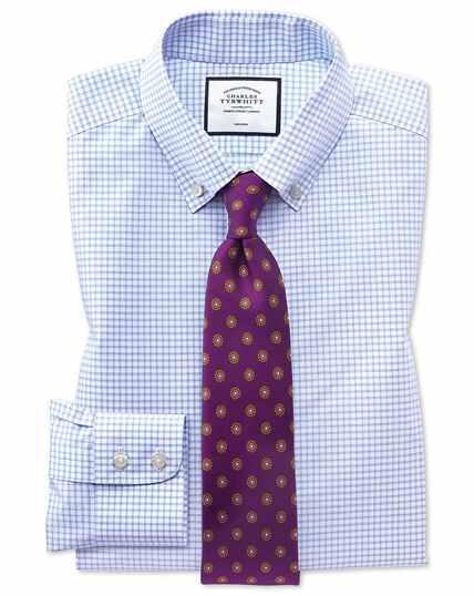 Extra slim fit non-iron sky blue windowpane check shirt
