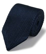 Navy silk slim silk knitted classic tie