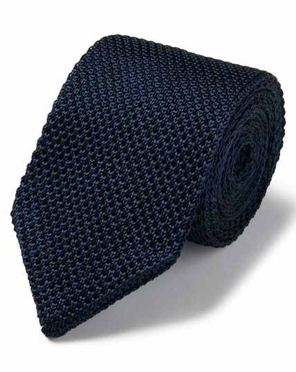 Navy silk slim silk knitted classic tie