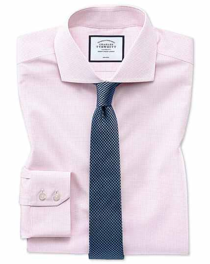 Extra slim fit non-iron 4-way stretch pink check shirt