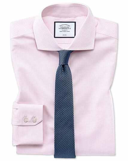 Chemise rose en tissu stretch quadri-extensible extra slim fit à carreaux simples sans repassage