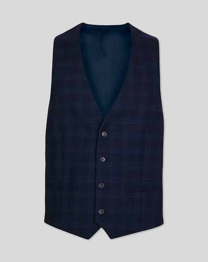 Business Check Suit Vest - Midnight Blue