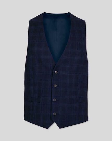 Business Check Suit Vest - Midnight Blue