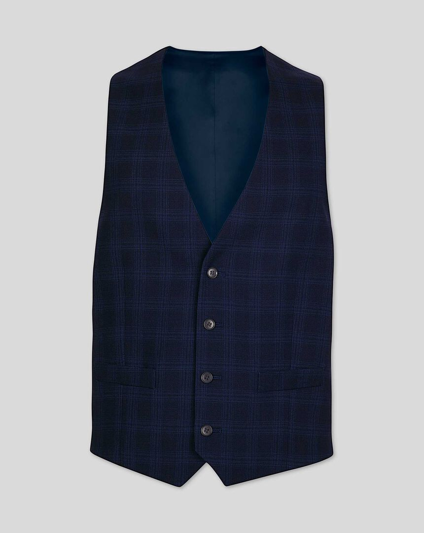 Business Check Suit Waistcoat - Midnight Blue