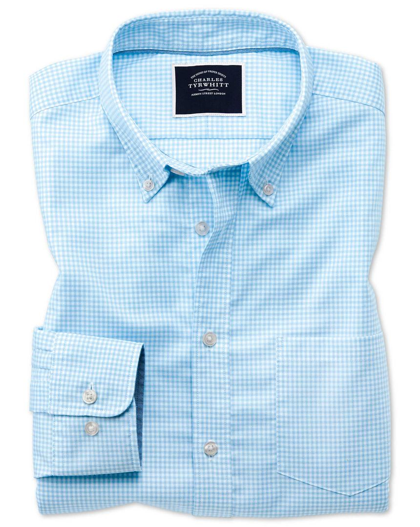 Slim fit sky blue gingham soft washed non-iron stretch shirt