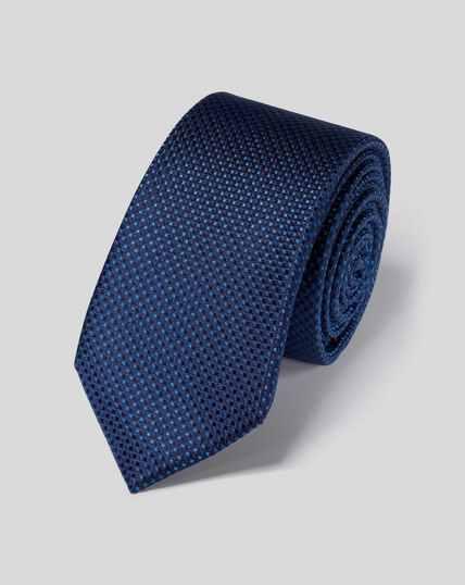 Stain Resistant Slim Silk Tie - Navy