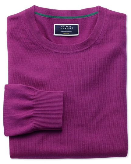 Berry merino wool crew neck jumper