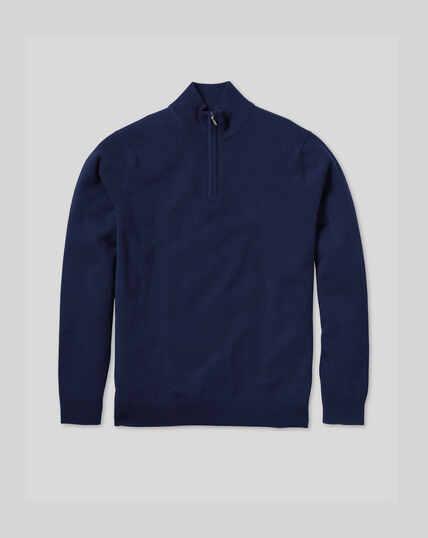 Kaschmirpullover mit Reißverschlusskragen - Marineblau