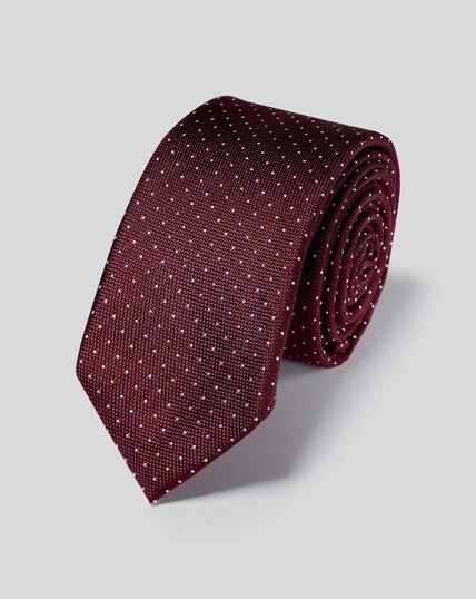 Slim Silk Pindot Tie - Burgundy