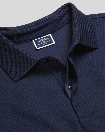Tyrwhitt Cool Short Sleeve Waffle Polo - Navy