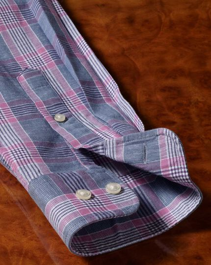Check Cotton Linen Shirt - Blue And Purple