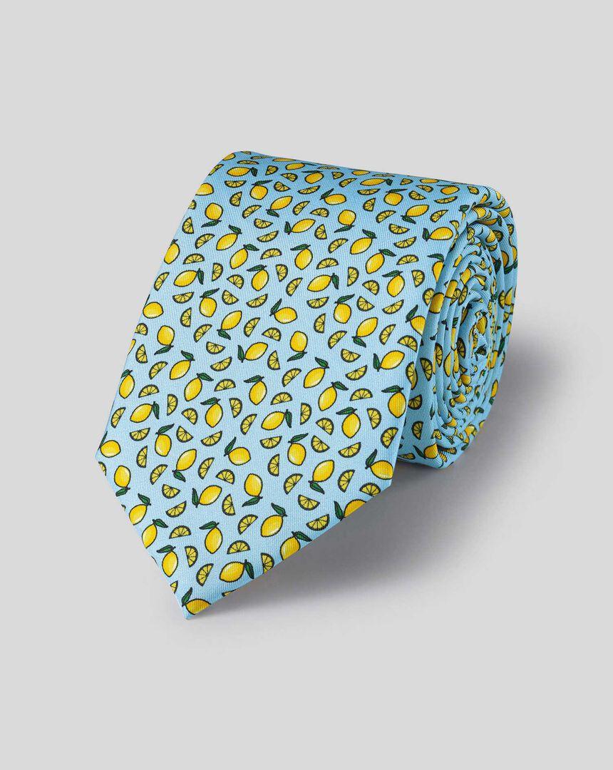 Krawatte aus Seide mit Zitronen-Print -  Himmelblau & Gelb
