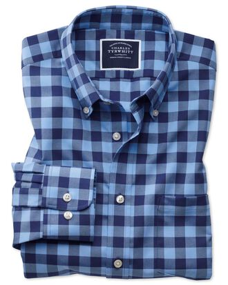 Slim fit button-down non-iron twill blue and navy gingham shirt